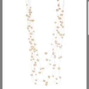 White Pearl Formations Multi-Strand Necklace